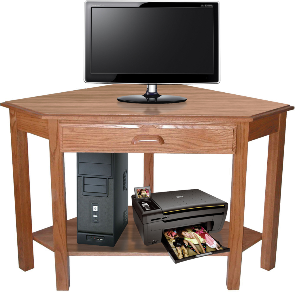 corner computer desk with shelf herron 39 s amish furniture. Black Bedroom Furniture Sets. Home Design Ideas
