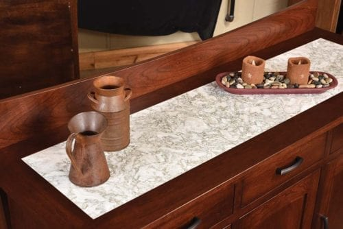 Woodbury Buffet with Cambria Top Detail
