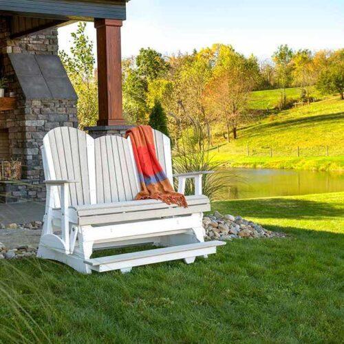 5′-Adirondack-Poly-Balcony-Glider-(Birch-&-White)